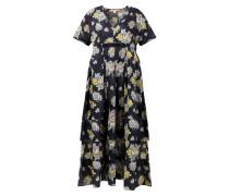 Langes Baumwoll-Kleid mit floralem Print Marineblau/Multi