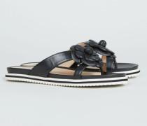 Verzierte Sandale '3rd Avenue' Schwarz/Silber - Leder