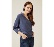 Oversized Cashmere-Pullover Denimblau