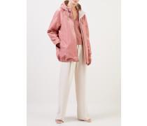 Beschichtete Baumwoll-Jacke mit Kapuze Rosé/Beige