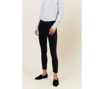Samt-High Rise Skinny Jeans 'Rocket Cropped' Blau