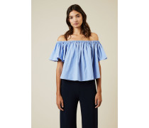 Gestreiftes Crop-Top Blau/Weiß - 100% Baumwolle