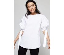 Bluse mit Puffärmel Weiß - 100% Baumwolle