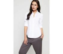 Baumwoll-Bluse mit Raffungen Weiß