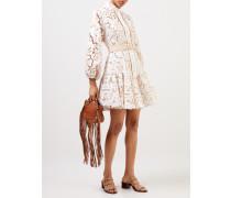 Minikleid mit Taillengürtel Weiß/Beige