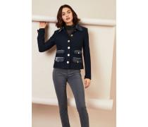 Tweed-Blazer mit Taschen-Details Marineblau
