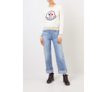 Woll-Cashmere-Pullover mit Logo Crème