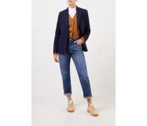 Woll-Cashmere-Blazer mit Streifen Marineblau