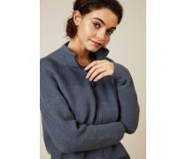 Woll-Seiden-Cardigan mit Reißverschlussdetails Blau/Grau