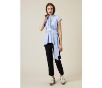 Ausgestellte Baumwoll-Bluse mit Perlenverzierung - 100% Baumwolle
