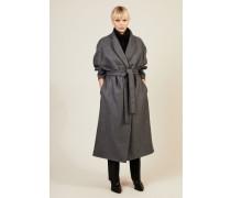 Klassischer Mantel mit Gürteldetail Grau - Seide