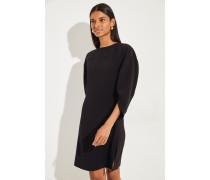 Kurzes Kleid mit asymmetrischen Ärmeln Schwarz