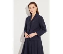Baumwoll-Leinen-Blazer mit Streifen Marineblau