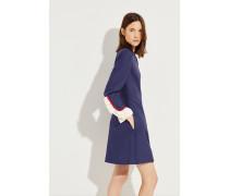 Woll-Seiden-Kleid mit Rüschendetails Blau
