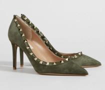 Nietenbesetzte Pumps 'Rockstud' aus Leder Oasis Grün