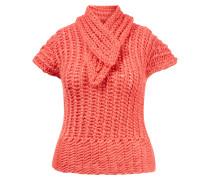 Mohair-Seiden-Pullover 'Linda' aus Grobstrick mit Kragendetail Flamingo