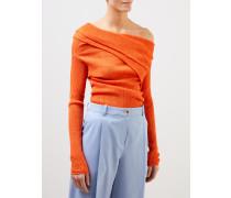 Plissiertes Baumwoll-Shirt Orange