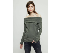 Gerippter Off-Shoulder-Pullover Khaki - Cashmere