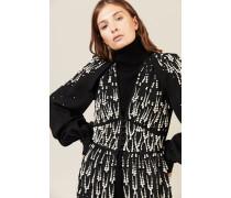 Kleid mit Perlenapplikation Schwarz