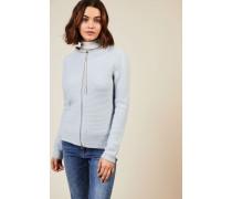 Woll-Seiden-Cardigan mit Perlenverzierung Blau - Cashmere