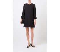Woll-Seiden-Kleid mit Applikationen Schwarz