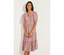 Baumwoll-Seiden-Kleid mit floralem Print Rot/Multi