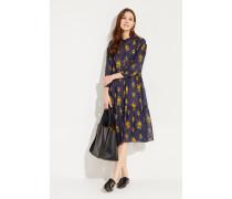 Kleid 'Lyra' mit Print Blau/Gelb