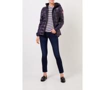 Kurze Daunen-Jacke mit Kapuze Marineblau