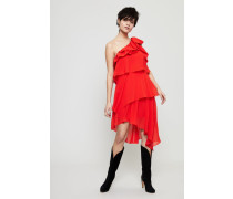 One-Shoulder Seidenkleid mit Volants Brigth Red - Seide