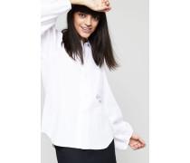 Bluse mit Puffärmeln Weiß - 100% Baumwolle