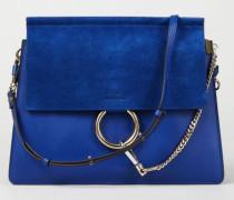 Veloursleder-Schultertasche 'Faye Medium' Majesty Blue - Leder