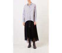 Baumwoll-Bluse mit Perlenverzierung Grau/Multi