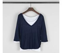 Zweilagiges Shirt 'Preston' Marineblau/Weiß - 100% Baumwolle