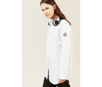 Hemd aus Popeline mit Lace-Kragen Weiß