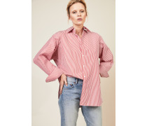 Oversize Bluse Rot/Weiß