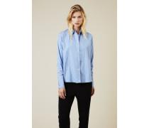 Gestreifte Baumwoll-Bluse Blau/Weiß -