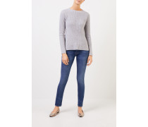 Cashmere-Pullover mit Strickdetail Grau