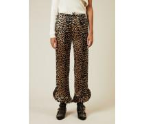 Gemusterte Seidenhose 'Calla' Leopard - Seide