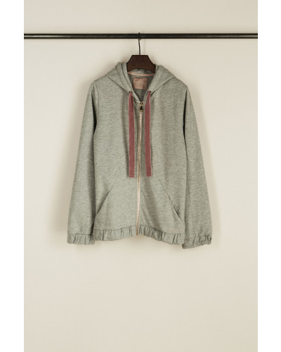 Kapuzen-Sweatshirt mit Samtkordel 'Pedra' Grau