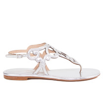 Leder-Sandale Silber
