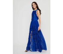 Abendkleid mit Volants Blau