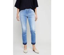 Jeans 'Liu Short' mit Fransensaum Hellblau