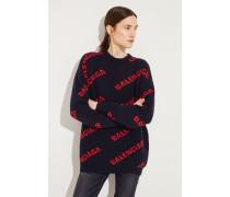 Oversize Wollpullover mit Schriftzug Dunkelblau/Rot