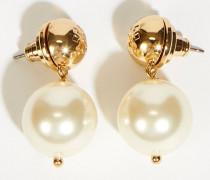 Perlen-Ohrringe Gold/Weiß
