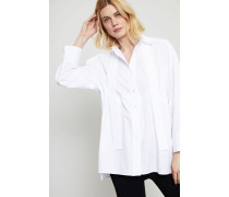 Oversized Bluse mit Bindedetails Weiß - 100% Baumwolle