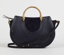 Doppelgrifftasche 'Pixie Medium' Full Blue - Veloursleder
