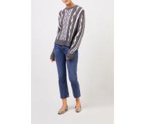 Woll-Cashmere-Pullover mit Intarsienmuster Grau/Weiß