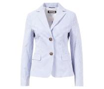 Einreihiger Blazer aus Baumwolle gestreift Blau/Weiß