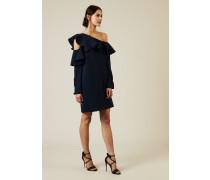 One-Shoulder Kleid mit Volant Marineblau - 100% Baumwolle