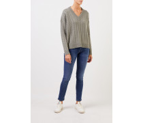 V-Neck Cashmere-Pullover mit Zopfmuster Salbei